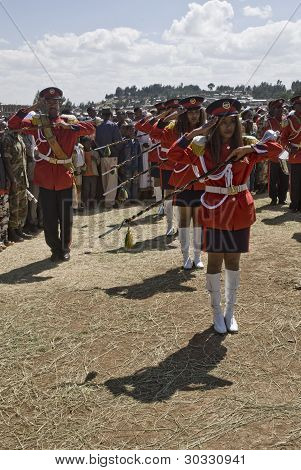 Female baton bearers from the Ethiopian Marching band
