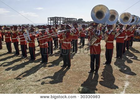 Ceremonial Marching Band Perfoming At The World Aids Day Event In Fitche