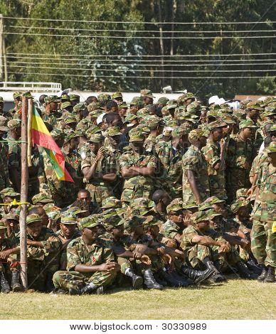 Ethiopian Army Soldiers Before The Start Of The World Aids Day Event In Fitche