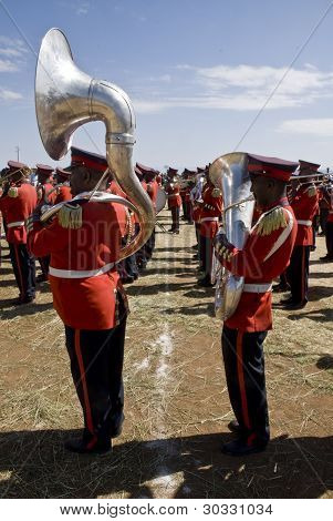 Uphomium And Tuba Players From The Ceremonial Marching Band Perfoming At The World Aids Day Event In