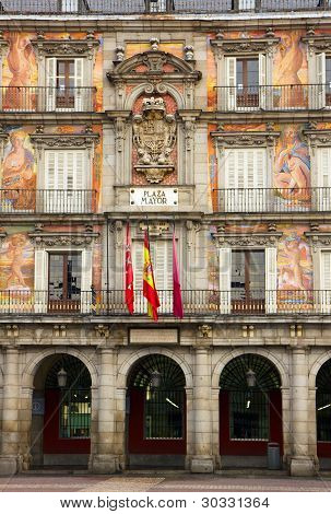 facade of old building, Madrid, Spain