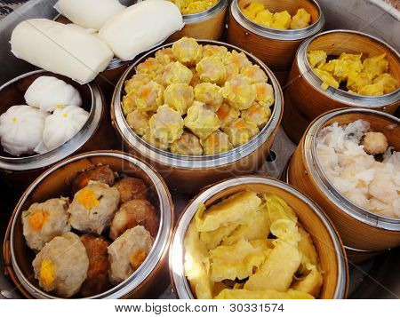 Dimsum in bamboo basket