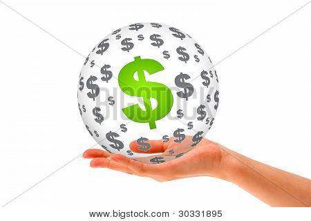Hand Holding A Dollar 3D Sphere