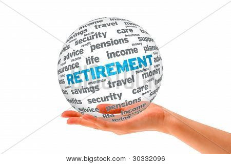 Hand Holding A Retirement 3D Sphere