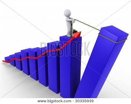 Businessman Raising Last Bar Of Chart