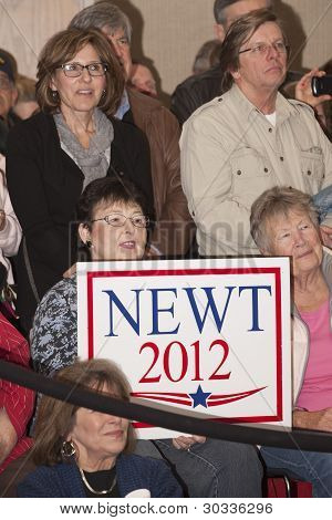Supporters at political event.