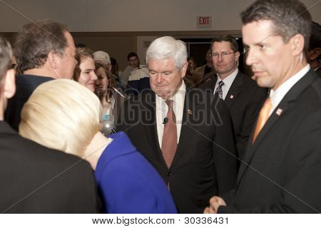 Newt Gingrich shakes hands.