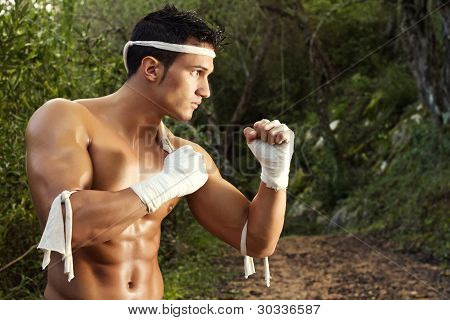 Fit Male On A Fighter Position
