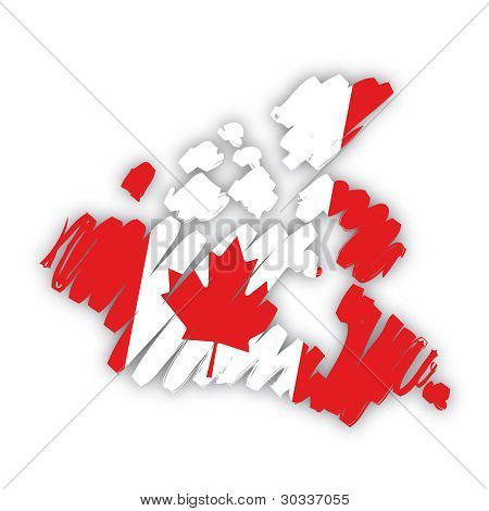 sketch map flag Canada