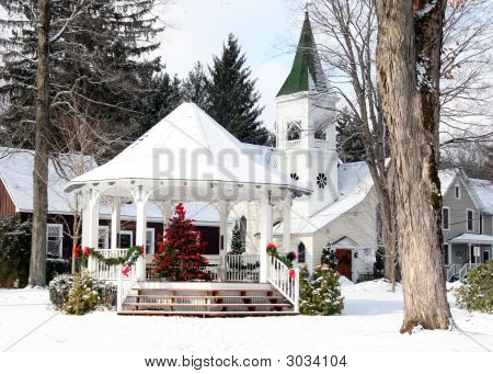 A Winter Scene Of A Gazebo