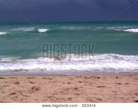 A Choppy Miami Ocean