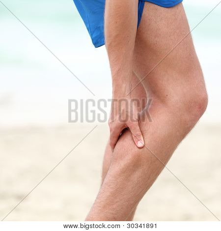 Leg calf sport muscle injury. Runner with muscle pain in leg.