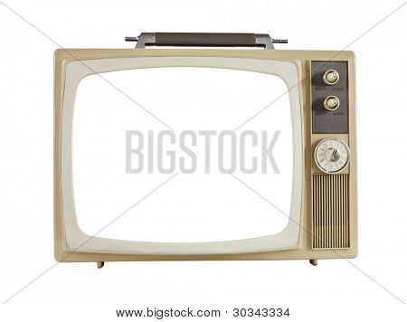 Vintage 1960's portable television with cut out screen, isolated on white.