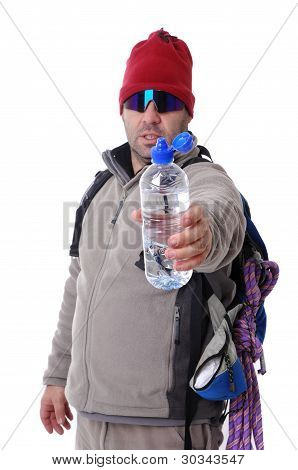 Hiker Offering Water