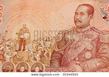 Rei Rama V na nota de tailandês