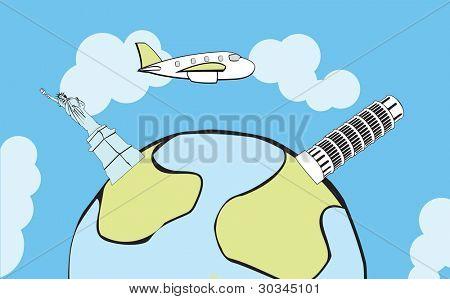 Flugzeug fliegen rund um den Globus, mit stilisierten Sehenswürdigkeiten