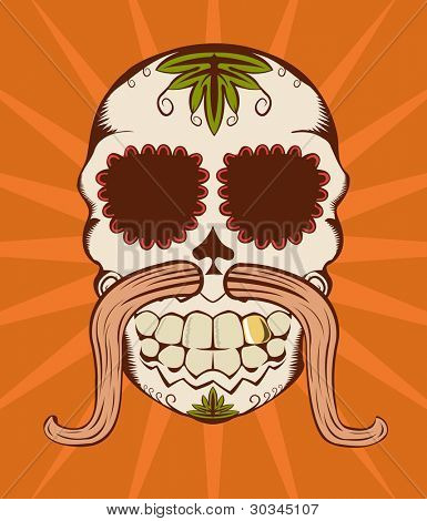 Illustration of orange decorative sugar skull
