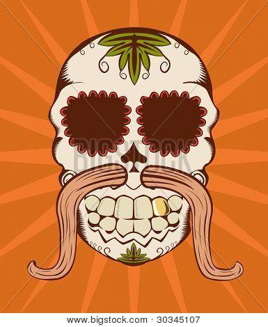 Illustration of orange decorative sugar skull