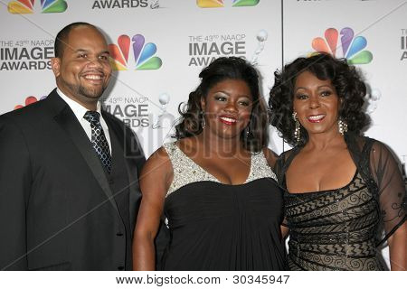 LOS ANGELES - FEB 17:  Stephen L. Hightower II, Julia Pace Mitchell, Judy Pace arrives at the 43rd NAACP Image Awards at the Shrine Auditorium on February 17, 2012 in Los Angeles, CA