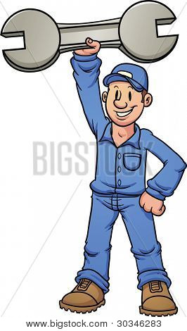 Cartoon mechanic holding a huge wrench. Vector illustration with simple gradients. All in a single layer.