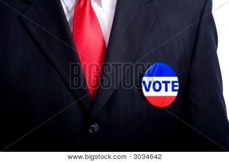 Politician With Vote Button