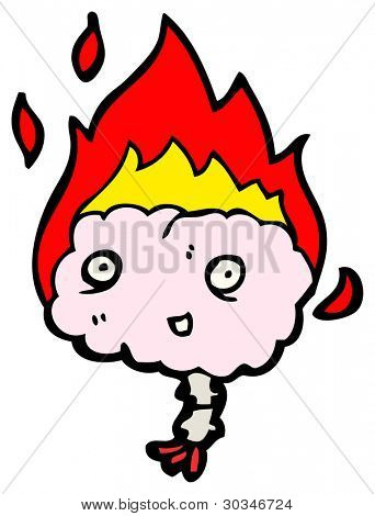 flaming brain cartoon (raster version)