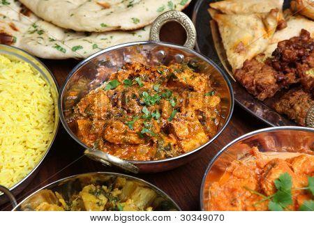 Indian chicken saag massala curry in balti dish