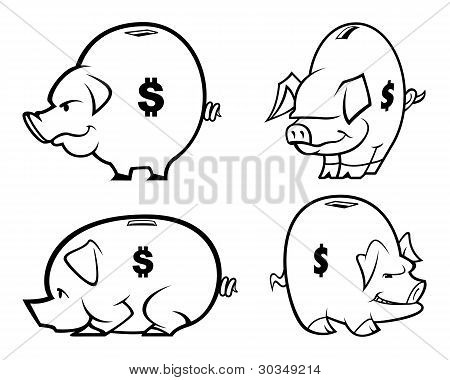 Vector Piggy Banks One Color