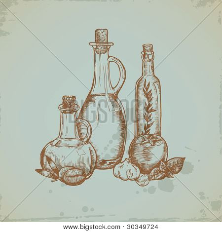 Hand drawn Olive Oil in Glass Bottles. Still life illustration. Vector