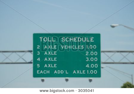 Toll Road Fee Schedule Sign