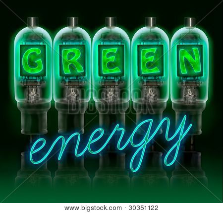 Words  Green Enregy  Made With Bulbs With Glowing Letters