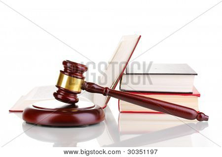 Judge's gavel and books isolated on white