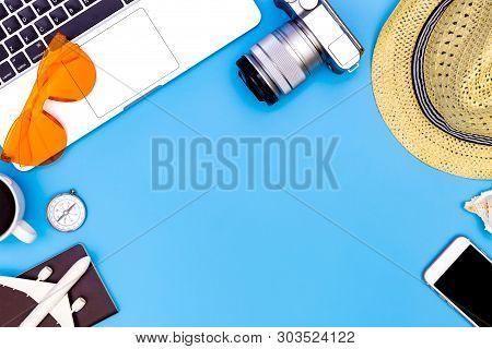 poster of Summer Concept On Blue Blackground With Laptop, Flat Lay Of Modern Workplace With Laptop On Blue Bac