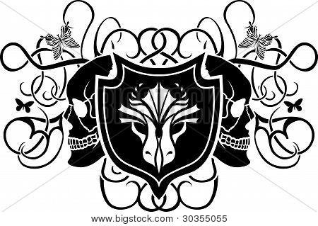 Dragon and skull shield