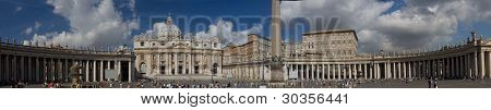 Vatican, Italy - September 7, 2008: Panoramic View Of St. Peter's Basilica Square And Obelisk On Sep