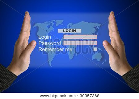 Hand Hold Technology System Login in Virtual Screen Interface