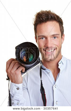 Happy smiling journalist with digital camera in his hand