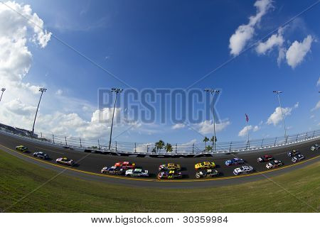 DAYTONA BEACH, FL - FEB. 23:  The NASCAR Sprint Cup teams take to the track for the Gatorade Duel 2 race at the Daytona International Speedway in Daytona Beach, FL on Feb 23, 2012.