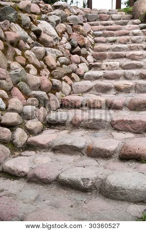 Stairs Along A Stone Wall