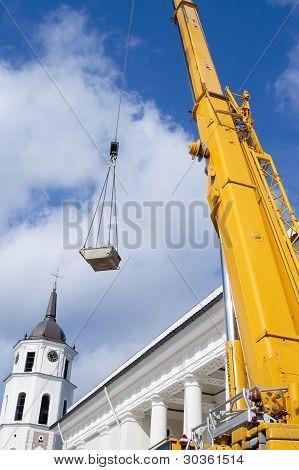 Yellow Mobile Crane Boom