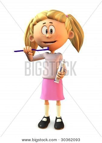 Cartoon Girl Brushing Her Teeth.