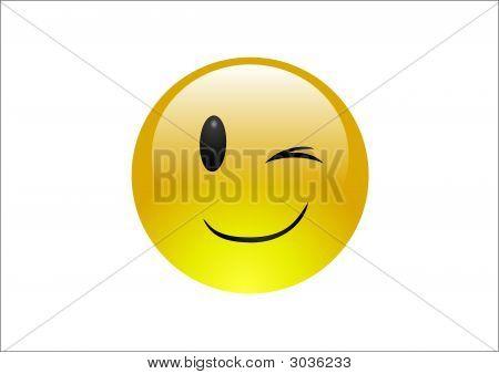 Aqua Emoticon - Wink