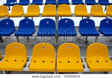 Tribune seats in a stadium