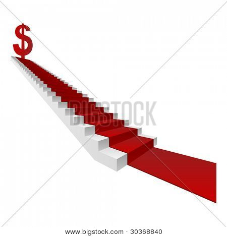 Vector concept or conceptual 3D white stair and red carpet with a dollar sign or symbol  isolated on white background, for business,progress,growth,career,success,development,money or vision designs