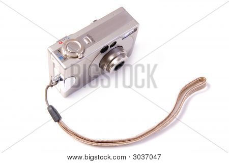 Digital Photographic Compact Camera On White