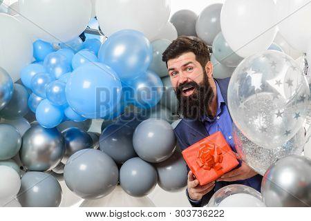 poster of People, Joy, Birthday, Celebration. Festive Event Or Birthday Party. Happy Birthday Guy Holds Helium