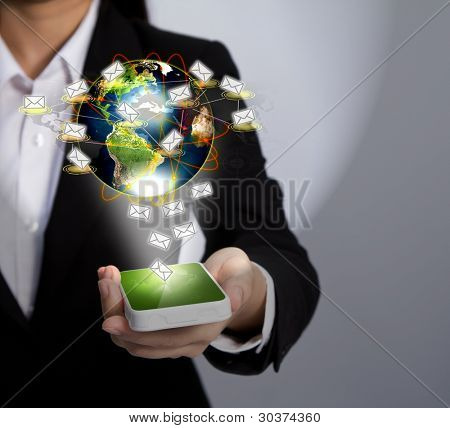 Hand holding a phone show Earth and mail