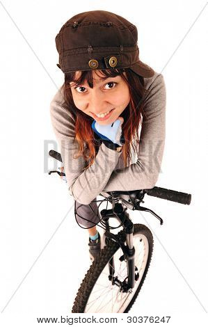 Funny portrait of young woman cyclist isolated on white, studio shot.