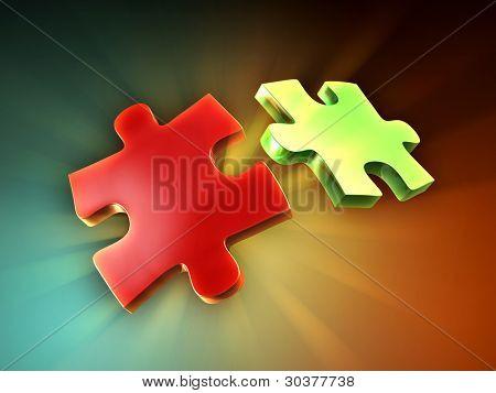 Dos piezas de puzzle con algunos iluminación posterior creación hermosas luz rayos. Ilustración digital.