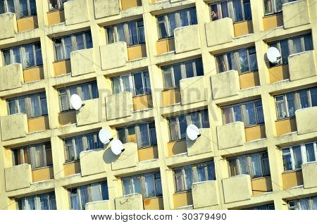 Apartment Building Facade In Dormitory Suburb